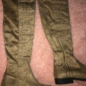 Suede Embroidered Over The Knee Boots